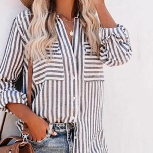 Just in💕 Striped Oversized Outer Shirt w Pockets